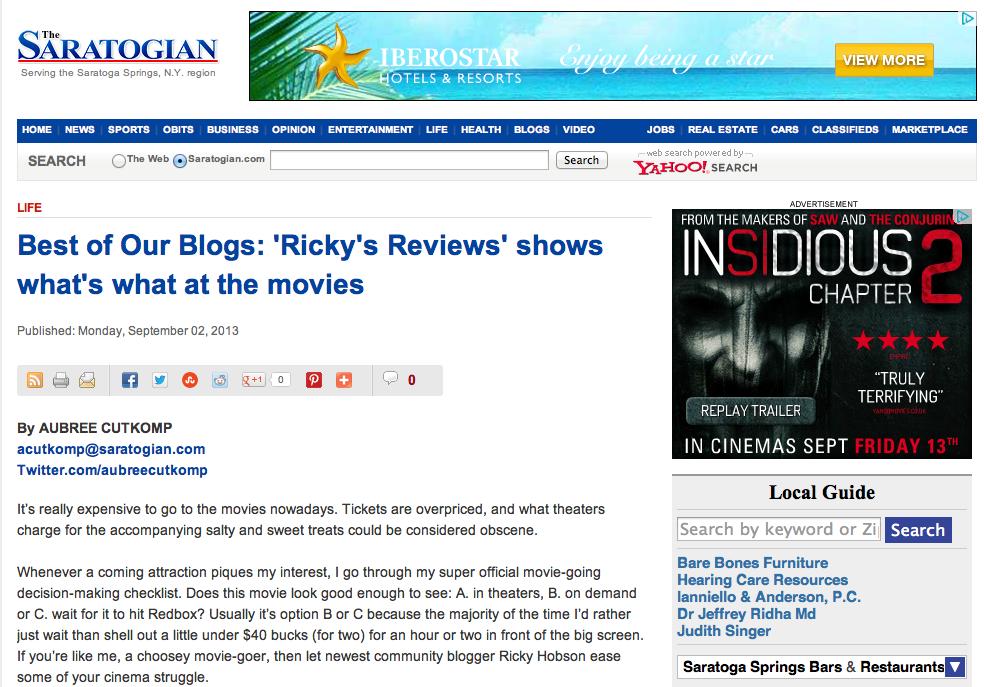 TESTIMONIALS & PUBLISHINGS   Ricky's Film Reviews