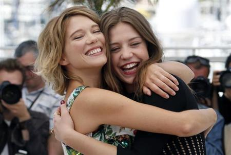 Cast members Lea Seydoux and Adele Exarchopoulos pose during a photocall for the film